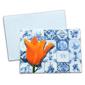 Typisch Hollands Doppel-Grußkarte - Holland Tulip und Fliesen
