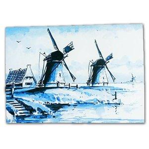 Typisch Hollands Einzelkarte - Delfter Blau - Classic mit Mühlenlandschaft