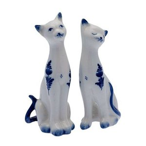 Typisch Hollands Delft blue cats - set of 2