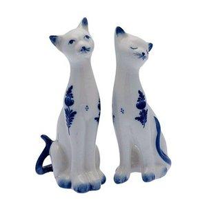 Typisch Hollands Delfter blaue Katzen - 2er Set