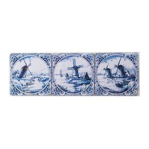 Heinen Delftware Delfts blauwe onderzetters  Molens 6 stuks