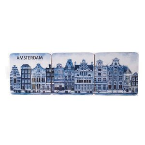 Heinen Delftware Delft blue coasters Gevelhuizen 6 pieces