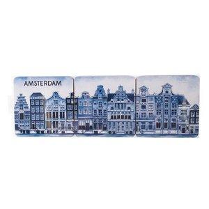 Heinen Delftware Delfts blauwe onderzetters  Gevelhuizen 6 stuks