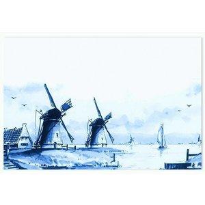 Heinen Delftware Placemat - Delfts Blauw Molens