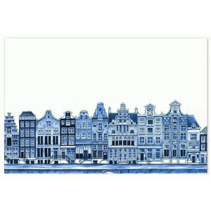 Heinen Delftware Placemat - Delfts Blauw Gevelhuizen