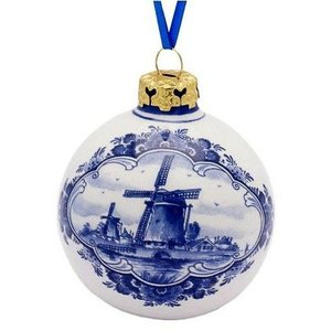 Typisch Hollands Delft blue - Christmas bauble 7 cm - Windmill landscape