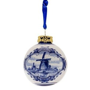 Typisch Hollands Delft blue - Christmas bauble 5 cm - Windmill landscape