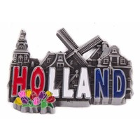 Typisch Hollands Magnet Metall Holland Dorfszene - Zinn