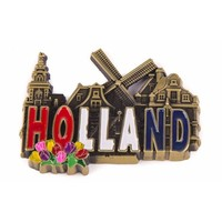 Typisch Hollands Magnet Metall Holland Dorfszene - Bronze