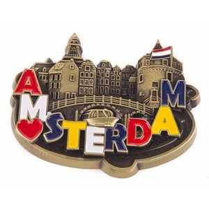 Typisch Hollands Magnet Metall - Liebe - Amsterdam - Bronze