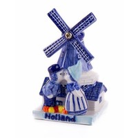 Typisch Hollands Delft blue - Windmill with kisses 7 cm Holland