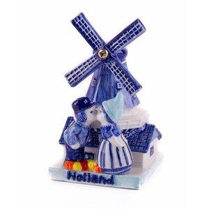 Heinen Delftware Delfts blauwe - Molen met kuspaar 7 cm Holland