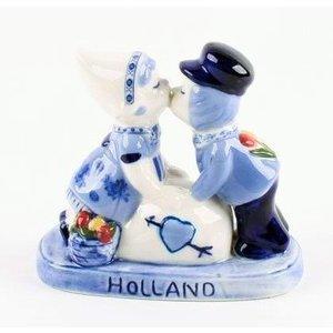 Typisch Hollands Kuspaar love Holland delftsblauw - 10 cm