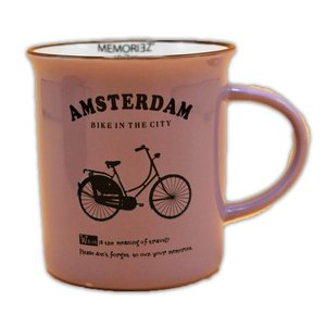 Memoriez Bicycle mug - porcelain Large (enamel look) - Lilac