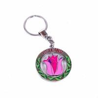 Typisch Hollands sleutelhanger draaiende tulp roze Holland