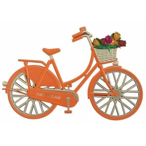 Typisch Hollands Magneet metaal fiets oranje Amsterdam Holland