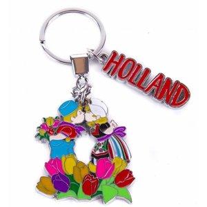 Typisch Hollands Sleutelhanger kuspaar met tulpen Holland