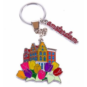 Typisch Hollands Keyring with tulips Amsterdam