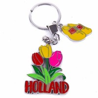 Typisch Hollands keychain 3 tulips with clog charm Holland