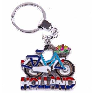 Typisch Hollands sleutelhanger fiets blauw/wit met tulpenmand Holland