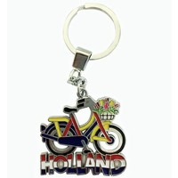 Typisch Hollands Key ring bike yellow / blue with tulip basket Holland