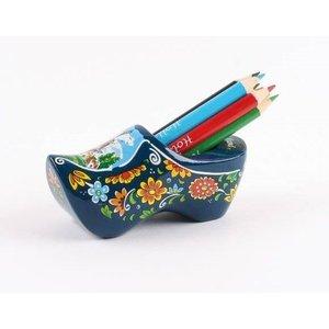 Typisch Hollands Holzschuh mit Spitzer und Bleistifte blau