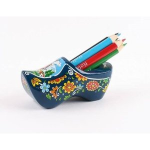 Typisch Hollands Wooden shoe with sharpener and pencils blue