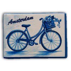 Heinen Delftware Magneet rechthoek - Amsterdam - Fiets