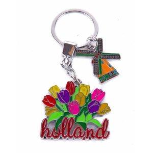 Typisch Hollands Keychain tulip bunch with mill charm Holland