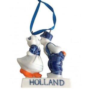 Heinen Delftware Kerstboomdecoratie - Kussend Paar - Holland - Kerst