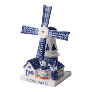 Typisch Hollands Mill with kissing Couple - Delft blue 9CM