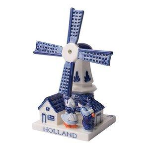 Typisch Hollands Molen met kussend Paar - Delfts blauw 9CM