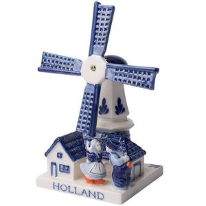 Heinen Delftware Molen met kussend Paar - Delfts blauw 11CM