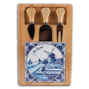 Typisch Hollands Kaasplank 3 mesjes - Delfts