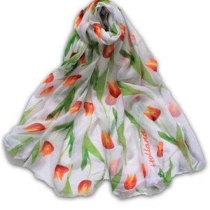 Typisch Hollands Holland Damessjaal - Wit met Oranje