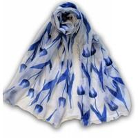 Typisch Hollands Holland Damessjaal - Wit met Blauwe Tulpen