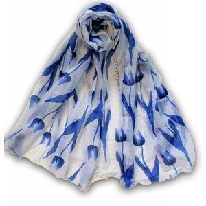 Typisch Hollands Holland Damen Schal - Weiß mit Blauen Tulpen