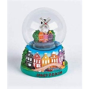Typisch Hollands Snow globe - Stadmolen - Facade houses 7cm