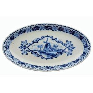 Heinen Delftware Delfts blauwe Schaal Molen ovaal