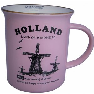 Typisch Hollands Holland mok - Porselein -Pink Groot (emaille look)