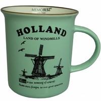 Typisch Hollands Holland mok - Mint groen Groot (emaille look)