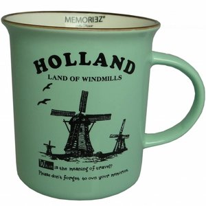 Typisch Hollands Holland mok - Porselein - Mint groen Groot (emaille look)