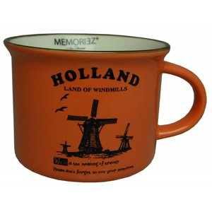Memoriez Small mug Holland - Windmills - Orange