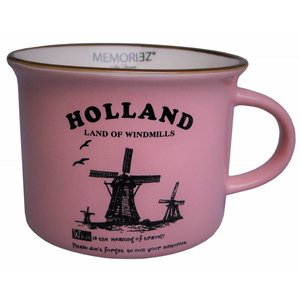 Memoriez Small mug Holland - Windmills - Pink