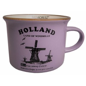 Typisch Hollands Kleiner Becher Holland - Windmühlen - Lila