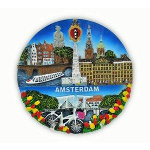 Typisch Hollands Amsterdam - Wallboard - Vollfarbe 13cm
