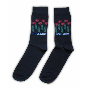 Typisch Hollands Socks Black with Red tulip size 40-46