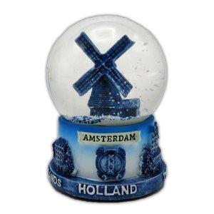 Typisch Hollands Schneekugel mit Mühle - Delft medium