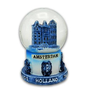 Typisch Hollands Snow globe Delft blue - Facade houses Small