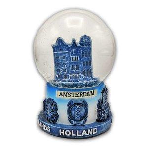 Typisch Hollands Schneekugel mit Giebelhäusern - Delfter mittlerer Größe